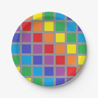Rainbow Squares Charcoal Paper Plate