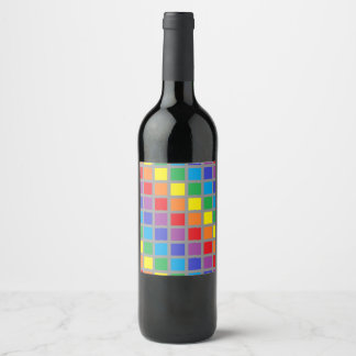 Rainbow Squares Charcoal Wine Label