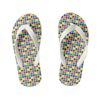 Rainbow Squares Kid's Flip Flops