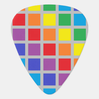 Rainbow Squares Silver Guitar Pick