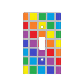 Rainbow Squares Silver Light Switch Cover