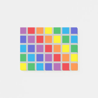 Rainbow Squares Silver Post-it® Notes