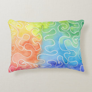 Rainbow Squiggle Watercolour Accent Pillow