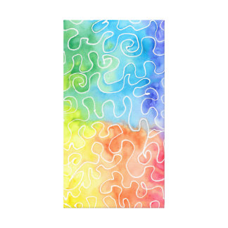 Rainbow Squiggle Watercolour Canvas Print