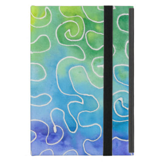 Rainbow Squiggle Watercolour Cover For iPad Mini