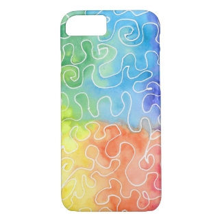 Rainbow Squiggle Watercolour iPhone 8/7 Case