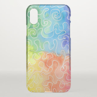 Rainbow Squiggle Watercolour iPhone X Case