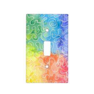 Rainbow Squiggle Watercolour Light Switch Cover