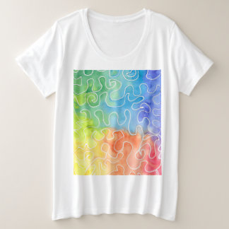 Rainbow Squiggle Watercolour Plus Size T-Shirt