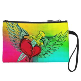 rainbow stabbed heart mini clutch