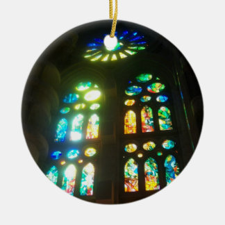 Rainbow Stained Glass Ceramic Ornament