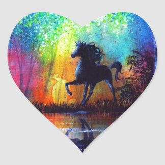 Rainbow Stallion Heart Sticker