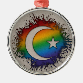 Rainbow Star and Crescent Silver-Colored Round Ornament