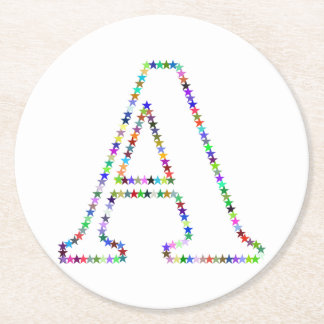 Rainbow Star Letter A Round Paper Coaster