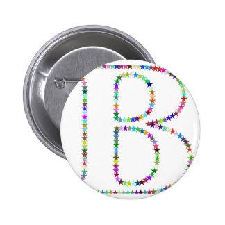 Rainbow Star Letter B 2 Inch Round Button