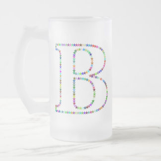 Rainbow Star Letter B Frosted Glass Beer Mug