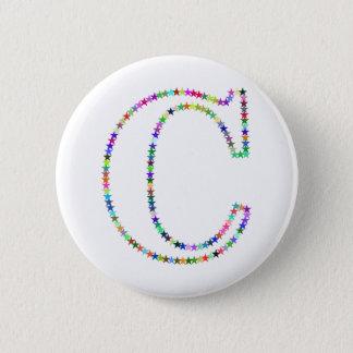 Rainbow Star Letter C 2 Inch Round Button