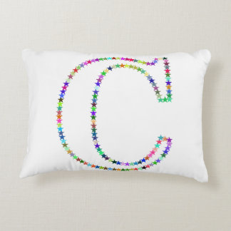 Rainbow Star Letter C Accent Pillow