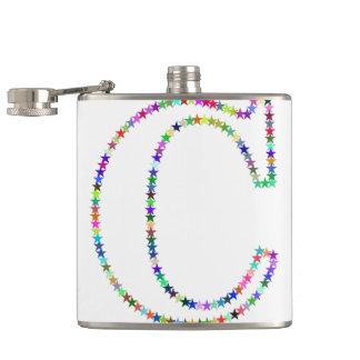 Rainbow Star Letter C Hip Flask