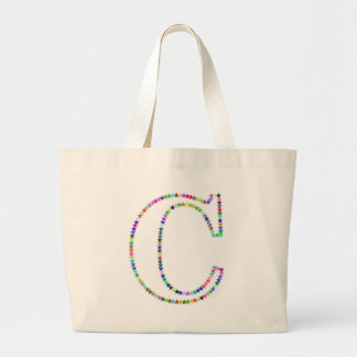 Rainbow Star Letter C Large Tote Bag