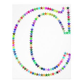 Rainbow Star Letter C Letterhead