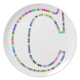Rainbow Star Letter C Plate