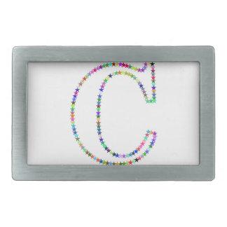 Rainbow Star Letter C Rectangular Belt Buckles