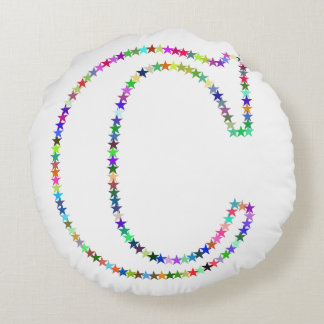 Rainbow Star Letter C Round Pillow