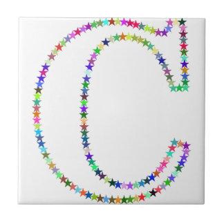 Rainbow Star Letter C Tile