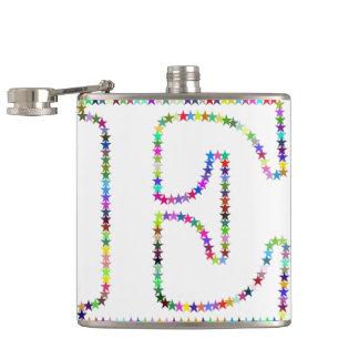 Rainbow Star Letter E Hip Flask