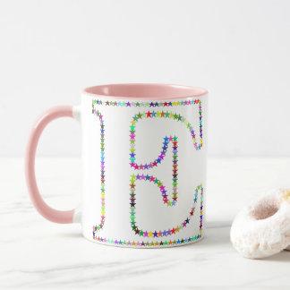 Rainbow Star Letter E Mug