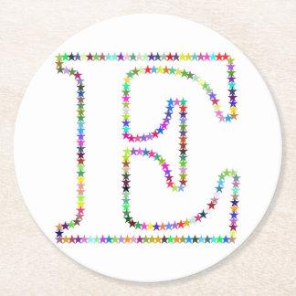 Rainbow Star Letter E Round Paper Coaster