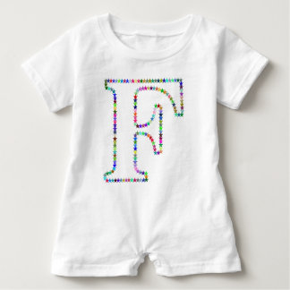 Rainbow Star Letter F Baby Romper