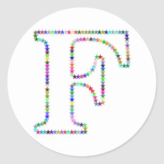 Rainbow Star Letter F Classic Round Sticker