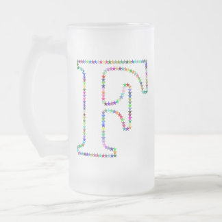 Rainbow Star Letter F Frosted Glass Beer Mug