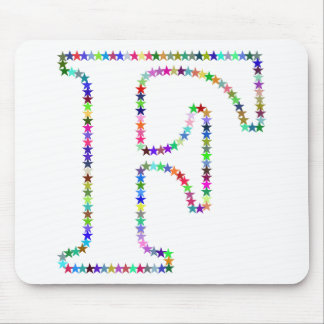 Rainbow Star Letter F Mouse Pad