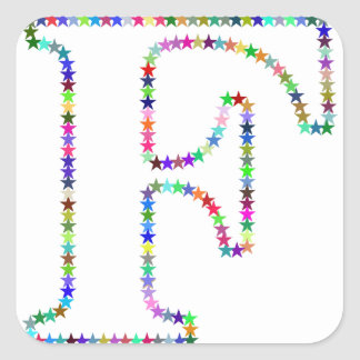 Rainbow Star Letter F Square Sticker