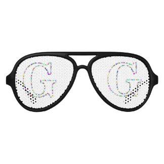 Rainbow Star Letter G Aviator Sunglasses