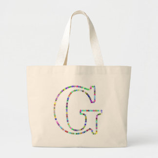 Rainbow Star Letter G Large Tote Bag