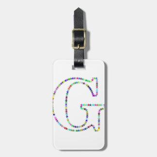 Rainbow Star Letter G Luggage Tag