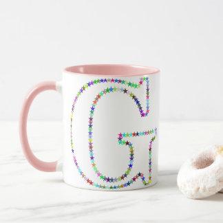 Rainbow Star Letter G Mug