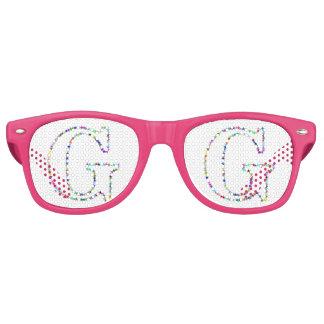 Rainbow Star Letter G Retro Sunglasses