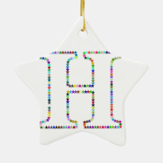 Rainbow Star Letter H Ceramic Ornament