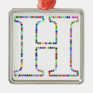 Rainbow Star Letter H Metal Ornament