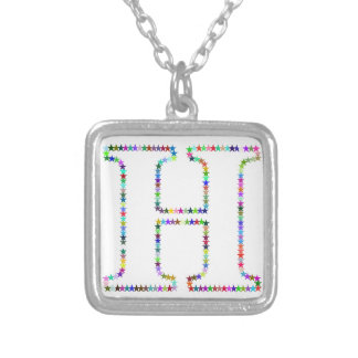 Rainbow Star Letter H Silver Plated Necklace