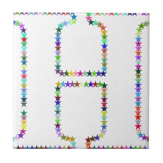 Rainbow Star Letter H Tile