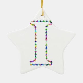 Rainbow Star Letter I Ceramic Ornament