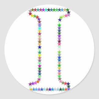 Rainbow Star Letter I Classic Round Sticker