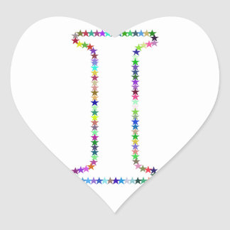 Rainbow Star Letter I Heart Sticker