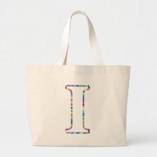 Rainbow Star Letter I Large Tote Bag